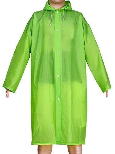 Green Raincoat - Mudder Adult Portable Raincoat Rain Poncho with Hoods and Sleeves (Green)