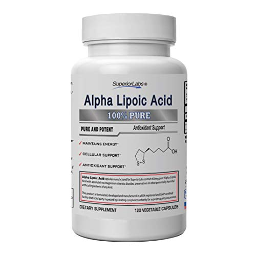 Superior Labs Alpha Lipoic Acid - Pure NonGMO ALA 600mg 120 Vegetable Caps - Zero Synthetic Additives, Stearates, Fillers - to Support Healthy Blood Sugar, Nerve Health, Tingling Feet, Hands, - Test Caps Alpha 90