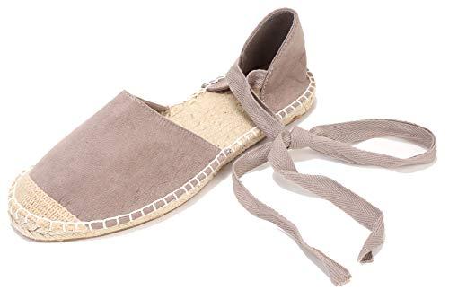 (U-lite Women's Suede Cap-Toe Tie-up Ankle Strap Espadrille Flat Sandals (6.5, Grey))