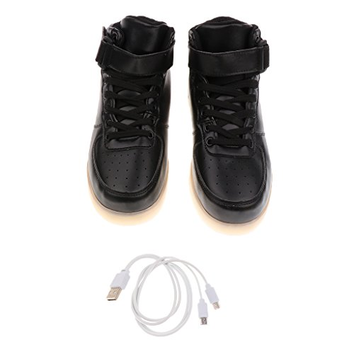 MagiDeal Par Zapatos LED 1x Cargador USB Adultos Unisex Ligeros Altas Luminosas para Fiestas Navidad Año Nuevo - blanco 40 negro 35