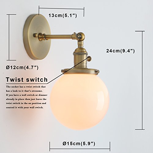 Permo Vintage Industrial Wall Sconce Lighting Fixture with Mini 5.9'' Round Globe Milk White Glass Hand Blown Shade (Anqitue) by Permo (Image #2)