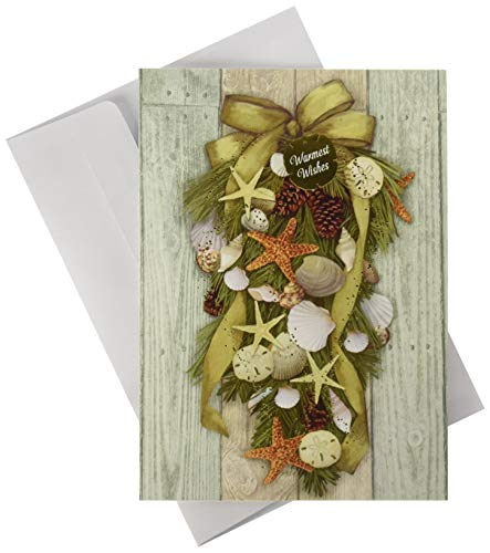 Masterpiece Warmest Wishes 18-Count Christmas Cards, Beach Swag ()