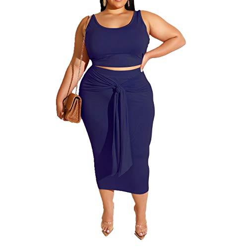 Womens Sexy Plus Size Tie Dye Print Tanks Crop Top Bandage Bodycon 2 Pieces Long Midi Pencil Dresses Outfits Skirt Set Royal Blue Solid 2XL ()