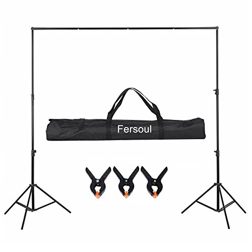 2Mx3M/6.5x10ft Photo Video Studio Portable Background Support System Photography Backdrop Stand Kit with Carrying Bag Adjustable Light Stand(80CM-200CM), 3 section Cross bar for Muslin Non-woven by Fersoul