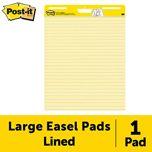 Post-it Super Sticky Easel Pad, 25 x 30 Inches, 30 Sheets/Pad, 1 Pad (561SS), Yellow Lined Premium Self Stick Flip Chart Paper, Super Sticking Power