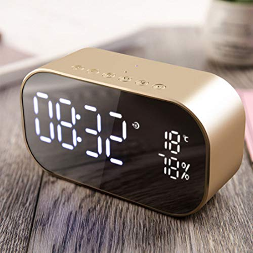 - Digital Alarm Clock, LED  Mirror Speaker FM Radio Wireless Bluetooth Speaker   with Thermometer, Dual Alarm with Snooze, TF Card Slot, USB Charging Port, FM Radio/AUX-in  for Office Bedroom (Gold)