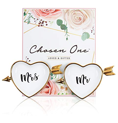 Mr and Mrs Ring Holder - Chosen One Ring Dish/Ring Holders for Jewelry/Trinket Tray Gift. Wedding Gifts for The Couple Just Married, Bridal Shower Gifts for Bride to Be, Engagement Gifts for Her