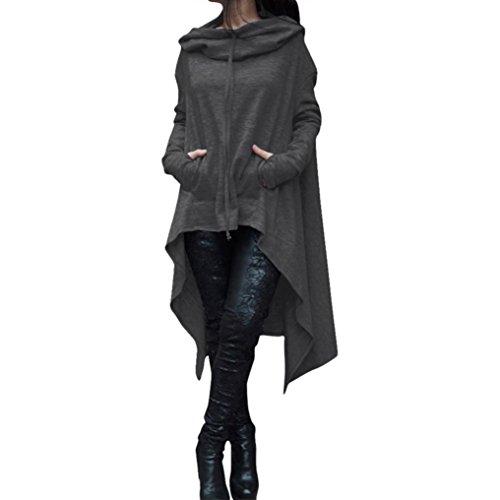 Han Shi Asymmetric Blouse, Elastic Scarf Collar Loose Hoodies Long Tunic Dress for Women (S, Dark Gray)
