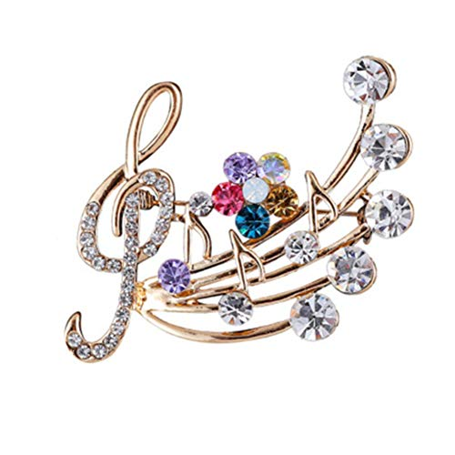 JczR.Y Fashion Music Note Sheet Brooch Colorfu Rhinestaone Flower Note Treble Clef Brooch Pin Scarf Buckle for Women Wedding Concert Party Jewelry Gift(Gold) from JczR.Y