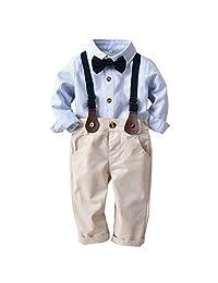 Camidy Boys Kids Toddler Gentlemen Suit Bowtie Stripe Shirt+Suspender Pants Clothes Set