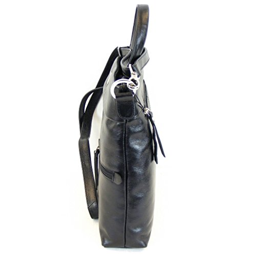 Pavini Damen Tasche Reißverschlusstasche Siena Leder schwarz 12383 Handyfach