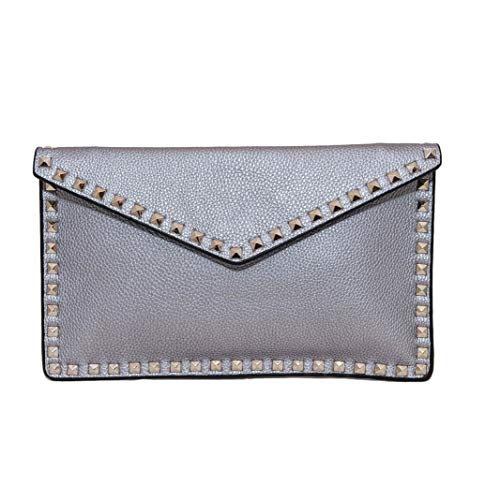 Inzi Envelope Clutch with Studs Silver ()