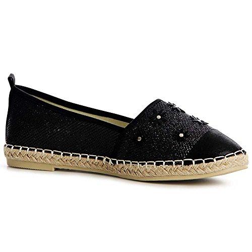 Loafer Mujer Señora Topschuhe24 De Alpargatas Black Bailarina x0ZwqI