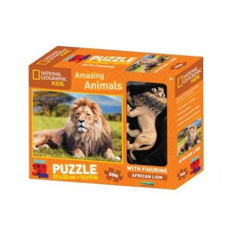 National Geographic Kids Amazing Animals Lion Puzzle 100 pcs with Lion Toy Figurine Prime 3D