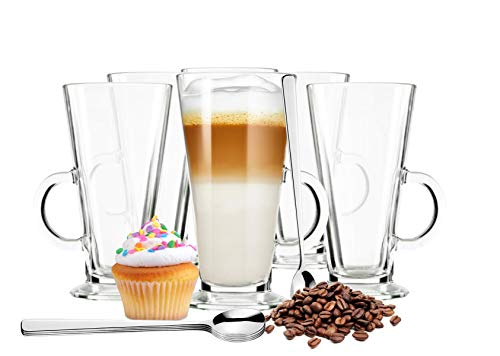 Sendez 6 latte macchiato-glazen en 6 roestvrijstalen lepels (gratis) koffieglazen theeglas