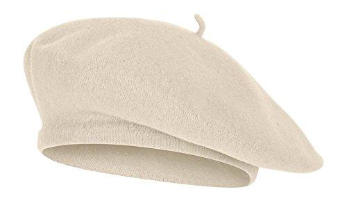 TOP HEADWEAR TopHeadwear Wool Blend French Bohemian Beret Ivory by TOP HEADWEAR