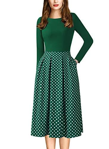 VFSHOW Womens Polka Dot Print Pockets Cocktail Casual Skater A-Line Dress 1611 GRN - Dot Dress Polka Womens In