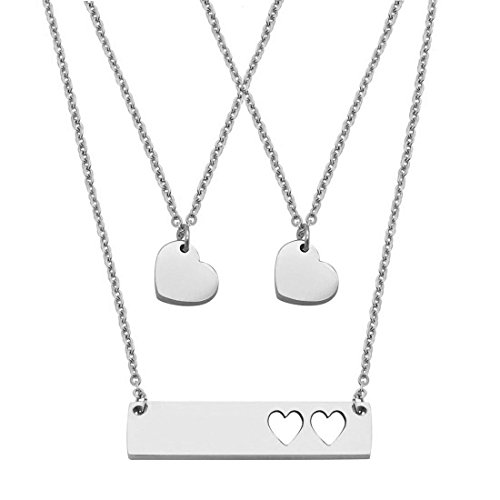 (JJTZX Mother Daughter Bar Necklace Set Horizontal Bar Necklace with Cutout Heart Mommy and Me Bar Necklace Set First Day of Kindergarten Gift (Sliver bar Set-2 Hearts))