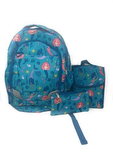 Mermaid Backpack Lunch Kit and Accessory Bag-3 Pieces Set