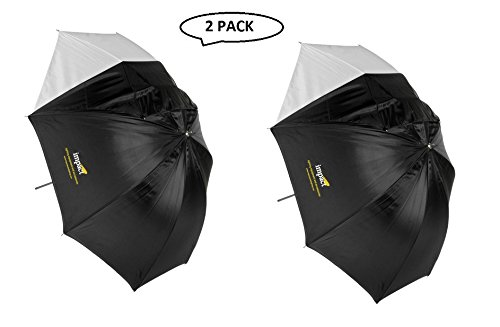 (Impact Convertible Umbrella - White Satin with Removable Black Backing - 60