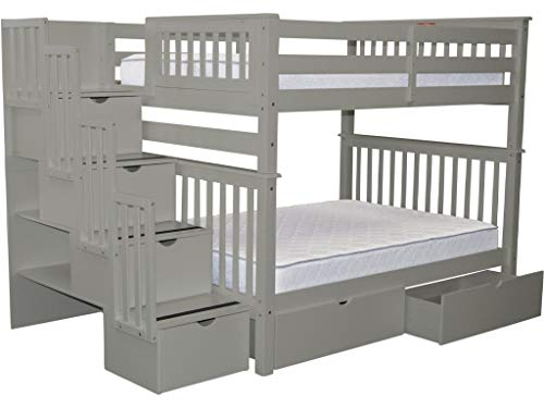 (Bedz King Stairway Bunk Beds Full over Full with 4 Drawers in the Steps and 2 Under Bed Drawers, Gray)