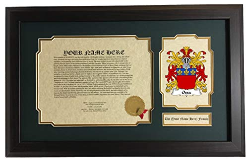 Ossa - Coat of Arms and Last Name History, 14x22 Inches Matted and Framed