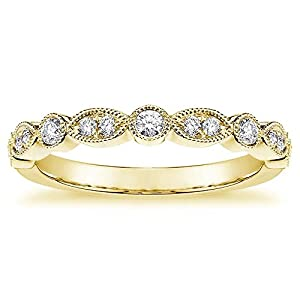 0.30 CT Round Diamond Wedding Band in 14k Yellow Gold Bezel & Pave Setting - Size 4.5