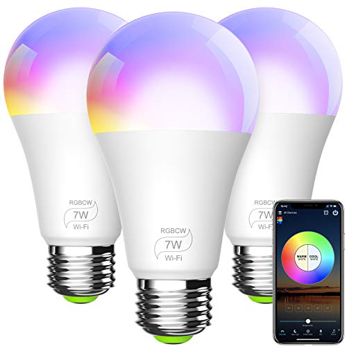 BERENNIS Smart Light Bulb, A19 E26 RGBCW WiFi Dimmable Multicolor LED Lights, Compatible with Alexa, Google Home and IFTTT (No Hub Required) 7W (60w Equivalent) 3 Pack