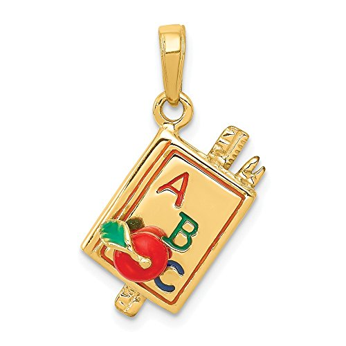 14k Yellow Gold Enameled Abc School Book Pendant Charm Necklace Career Professional Teacher Fine Jewelry Gifts For Women For Her