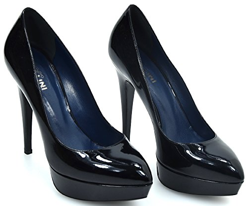Pollini Woman HIGH Heels Decolte Shoes Black Patent Leather SA1016CC1JTB0000 Nero - Black sk3ehhL