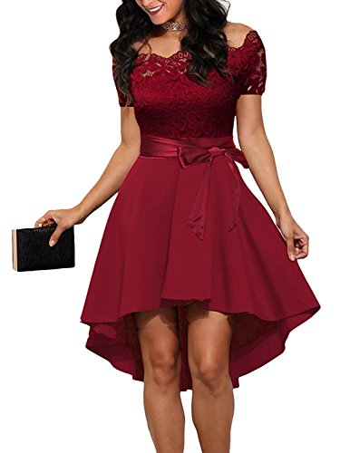 PZZ BEACH Women's Retro Off Shoulder Lace Splicing High Waist Cocktail Evening Party Wedding Formal Dress With Belt,Wine Red Small (Silk Dress Sexy)