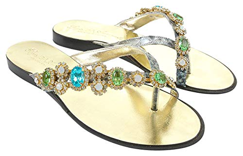 Crystals Leather Green And Sandals Sparkling Swarovski Turquoise With Crystal White 45wxqz