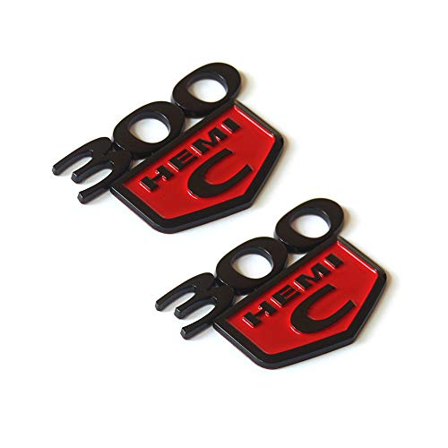 2pcs OEM 300C HEMI Trunk Emblem Badge decal 3D logo Replacement for 300 C Challenger Chrysler Black Red