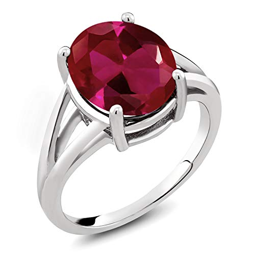 Gem Stone King 925 Sterling Silver Red Created Ruby Women's Ring 5.00 Ct Oval (Size 6)