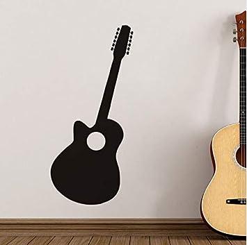 Pegatinas de pared Decoración para el hogar Guitarra Negro Silueta ...