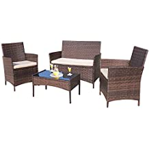 Homall 4 Pieces Outdoor Patio Furniture Sets Rattan Chair Wicker Set,Outdoor/Indoor Use Backyard Porch Garden Poolside Balcony Furniture (Brown)
