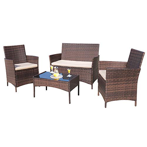 Homall 4 Pieces Outdoor Patio Furniture Sets Rattan Chair Wicker Set, Outdoor Indoor Use Backyard Porch Garden Poolside Balcony Furniture Sets (Brown and Beige) (Porch Furniture Used)