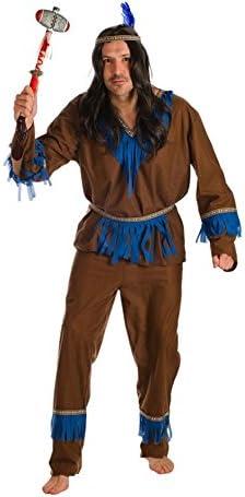 El Rey del Carnaval Disfraz de Indio con Flecos Azules para Hombre ...
