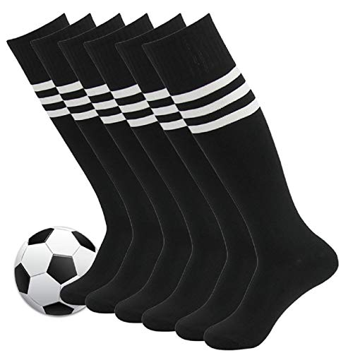 83fcb2fb241f Mens Soccer Socks,Fasoar Unisex Athletic Knee High Football Long Tube Socks  6 Pack Black