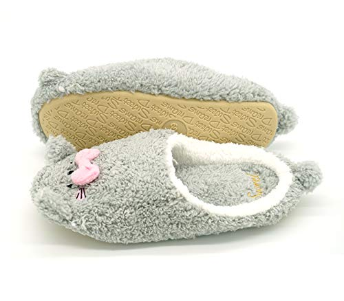 Women's Cute House Indoor Animal Comfy Slippers Shoes Cotton Navoku Grey d5T07d