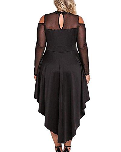 XAKALAKA Women s Plus Size High Low Sexy Mesh Bodycon Mini Night Club Dress  … 136bf9a517a9