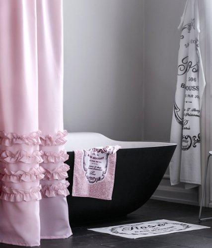 Ruffles Shower Curtain Water Repellent Fabric Shower Curtain (Light Pink)