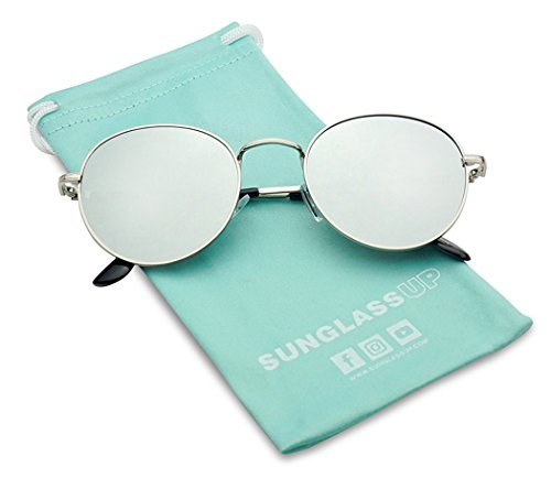 SunglassUP - Large Slim Metal Round Flat Color Mirrored Lens Sun Glasses Vintage (Silver, Silver Mirror -