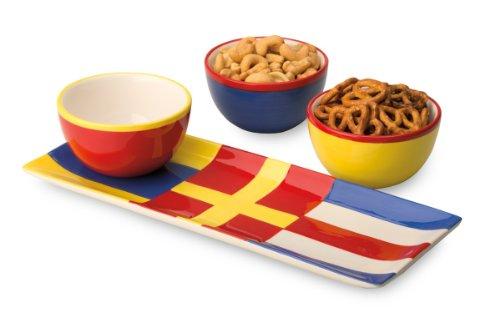 Boston International 4-Piece Tidbit Bowls and Tray Set, Nautical Flags