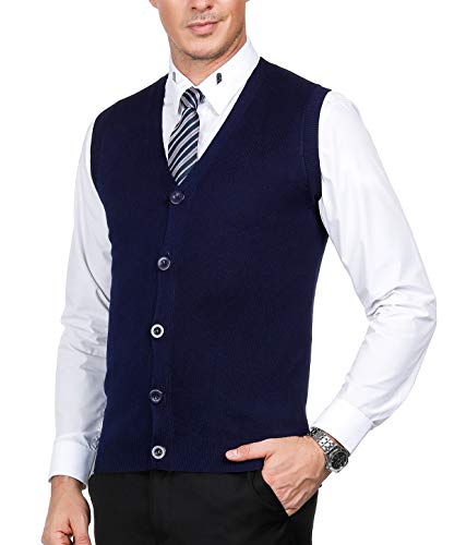 Men's Cardigan Sweater Vest V-Neck Sleeveless(Royal Blue-146,XXL) ()