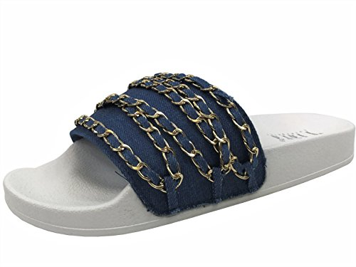 Willow On Sandal Women's Slip Wells Denim Flat Soft W Comfort Chain Slides Collection SwTExqf