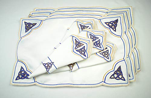 Spring Set of 4 Table Place Settings (4 Placemats/4 Napkins) in a Blue Celtic Eternity Knot Design.