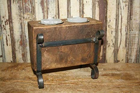 3 Hole Wooden Sugar Mold Wood Candle Holder Primitive Tin Cup Votives /& Candles
