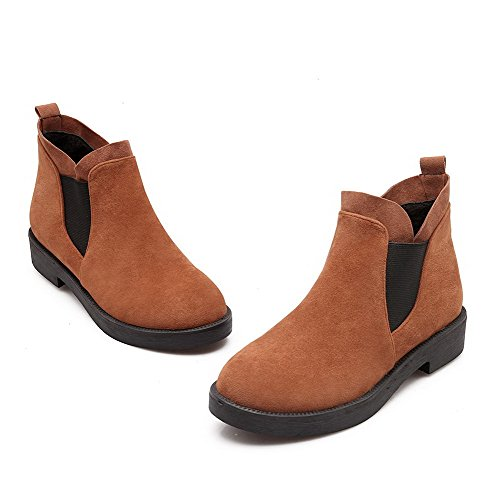Women's Yellow Toe Low On Pull Assorted Boots Heels Colors Frosted AgooLar Round nBFqTxgPn