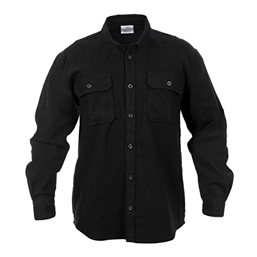 Rothco Heavy Weight Flannel Shirt, Black, Large